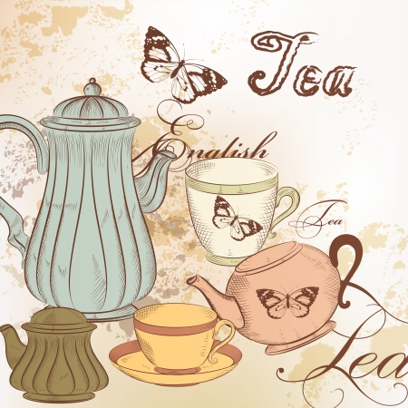 Tea  vector background with  cups and teapots   on a beige  grunge background