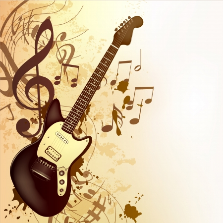 Vector background with detailed bass  guitar and notes for design Stock Vector - 23383242