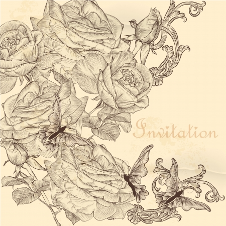 victorian fashion: Floral invitation background with roses for design
