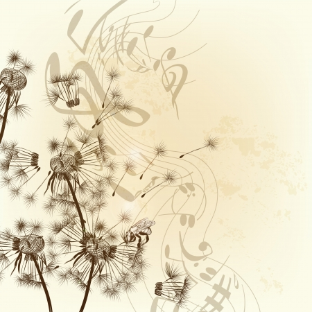 Vector illustration with hand drawn dandelions and music notes