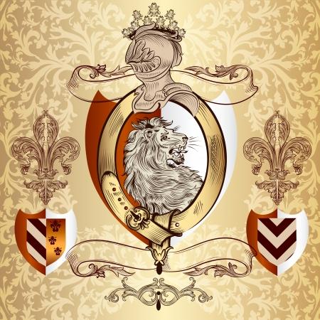 nobel: Ilustraci�n vectorial her�ldico en estilo vintage con escudo, armadura, corona y el le�n para el dise�o Vectores