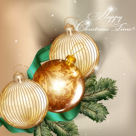 Cute vintage vector card with Christmas baubles  for design Stock Vector - 24165783