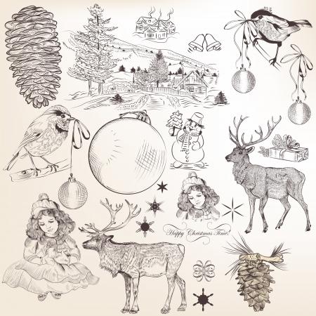 Decorative elements for elegant Christmas design  Calligraphic vector Stock Vector - 24165786