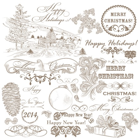 Decorative elements for elegant Christmas design  Calligraphic vector Stock Vector - 24165789