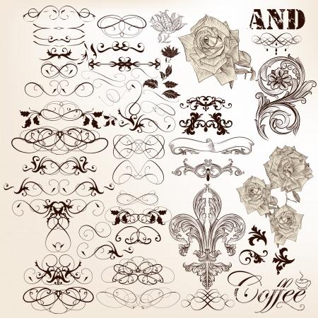 Vector Reihe von kalligraphischen Elemente für das Design Calligraphic vector Standard-Bild - 24165810