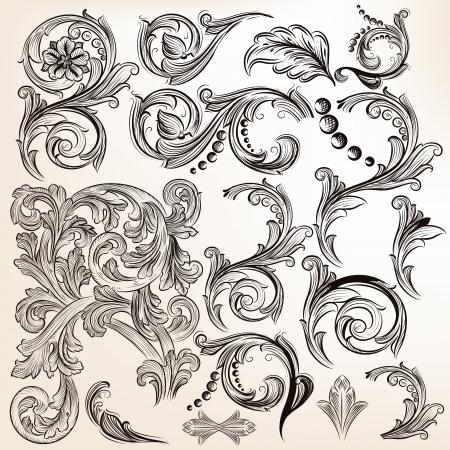 barocco: Vector set di elementi calligrafici di disegno calligrafico vettore