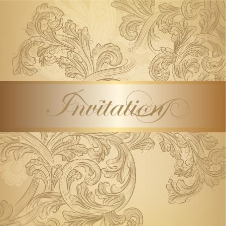 filigree frame: Elegant classic wedding invitation or menu  Retro vector Illustration