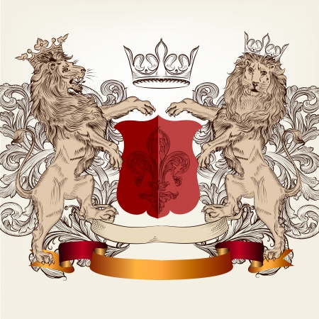 Vector heraldic illustration in vintage style with shield, armor, crown and lions for design