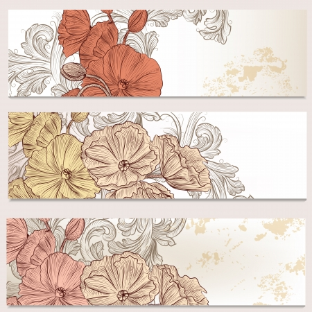 Set of floral brochures with  poppy flowers for design Vector