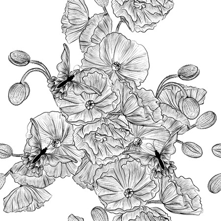 monochromic: Vector seamless pattern for wallpaper design with flowers
