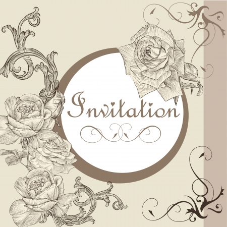 Vector hand drawn  invitation design in classic floral style Vector