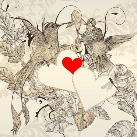 Vector valentine design  with birds, hearts  and flowers Vector