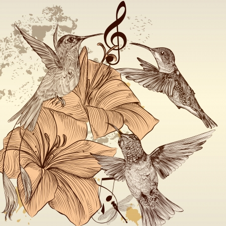 Cute vector background in vintage style with hand drawn birds Vector