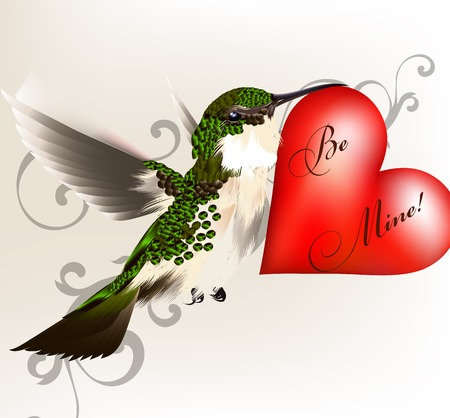 Hummingbird with red heart for valentines design Vector