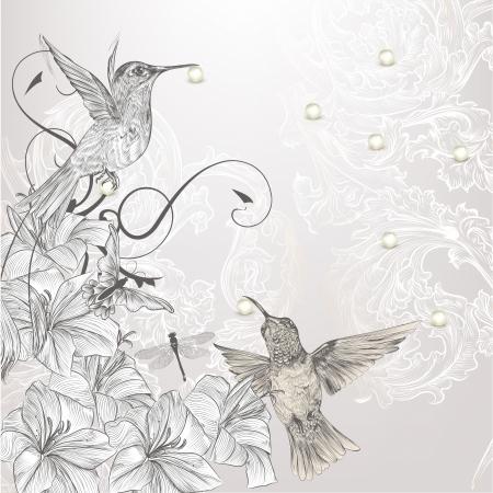 Cute vector achtergrond in vintage stijl met de hand getekende vogels Stock Illustratie