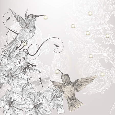 Cute vector background in vintage style with hand drawn birds