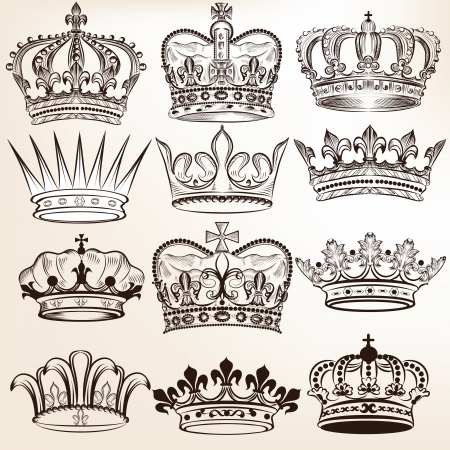 Vector set of  crowns for your heraldic design Vector