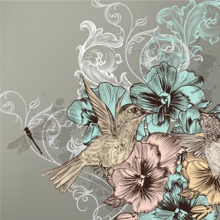 手描き鳥と花を持つビンテージ スタイルでかわいい  イラスト・ベクター素材