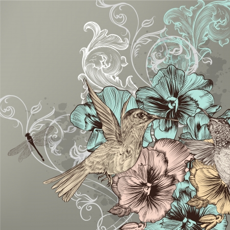Cute in vintage style with hand drawn birds and flowers