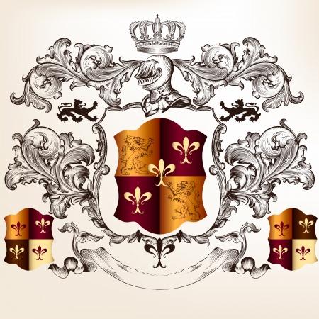 corona de rey: Vector her�ldico ilustraci�n de estilo vintage con escudo, armadura, corona y ornamento remolino de dise�o