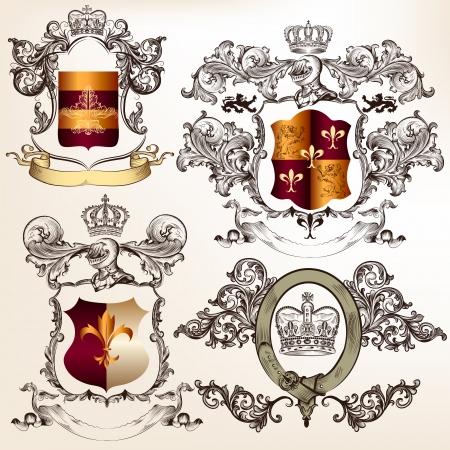 Collection of heraldic shield in vintage style for design Vector