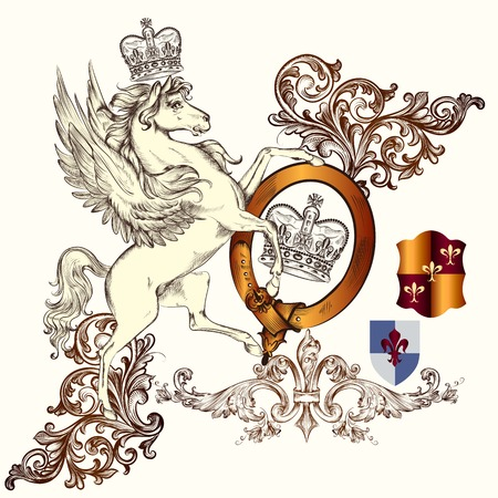 lion drawing: Vector heraldic illustration in vintage style with shield, armor, crown and horse for design