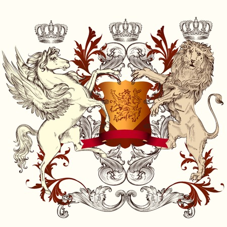 Vector heraldic illustration in vintage style with shield, lion, crown and winged horse for design Vector