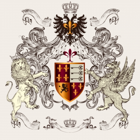 Vector heraldic illustration in vintage style with shield, lion, crown and winged griffin for design