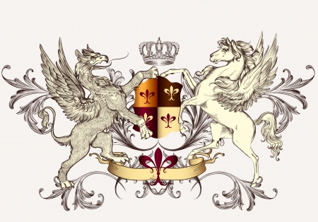 nobel: Vector heraldic illustration in vintage style with shield, griffin, crown and winged horse for design