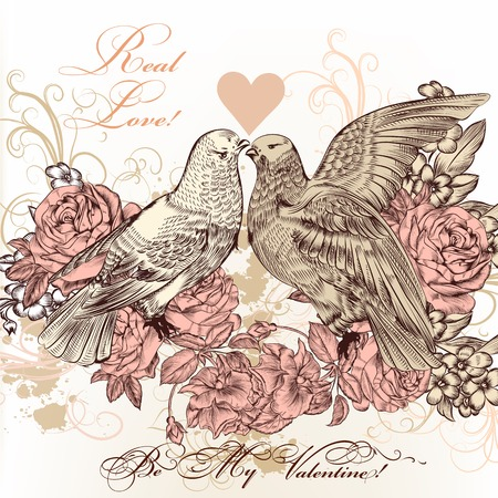 Vector illustration with pigeons and flowers Vector