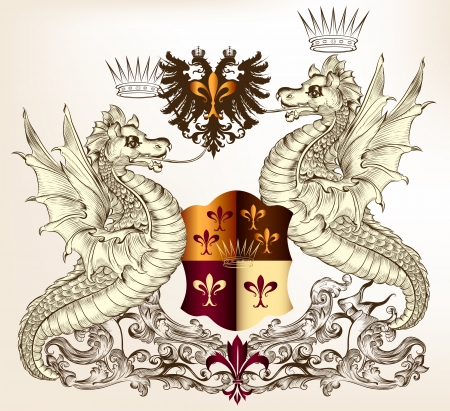 Vector heraldic illustration in vintage style with shield, crown and winged dragon  for design Vector