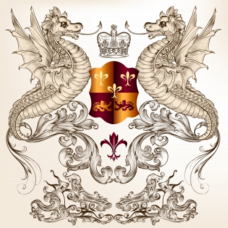 winged dragon: Vector heraldic illustration in vintage style with shield, crown and winged dragon  for design