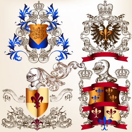 medieval king: Collection of heraldic shield in vintage style for design