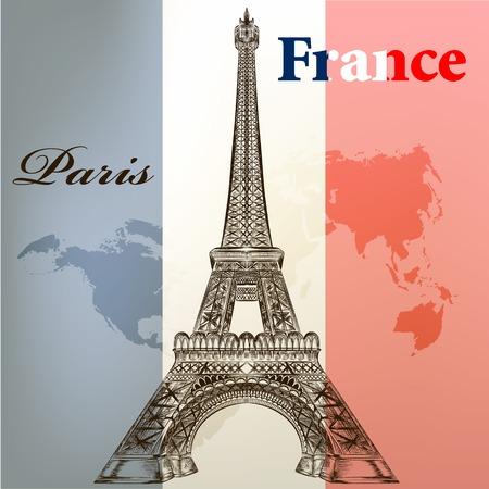 Eiffel tower on a flag of France Vector