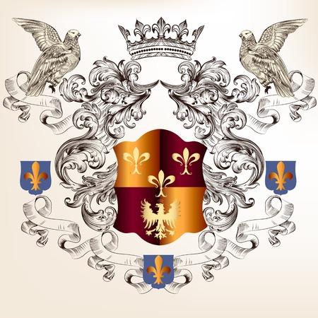 nobel: escudo her�ldico con armadura, corona y ornamento del remolino