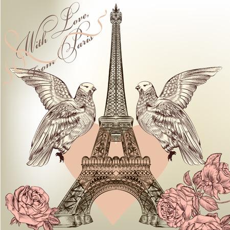 love card: Torre Eiffel con flores y palomas Vectores