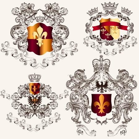 nobel: Colecci�n de escudo her�ldico Vectores