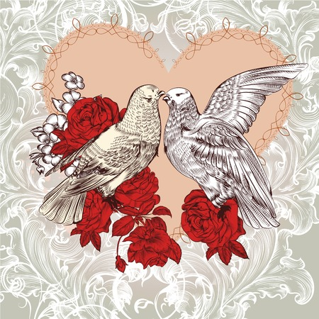 rose silhouette: pigeons and flowers Illustration