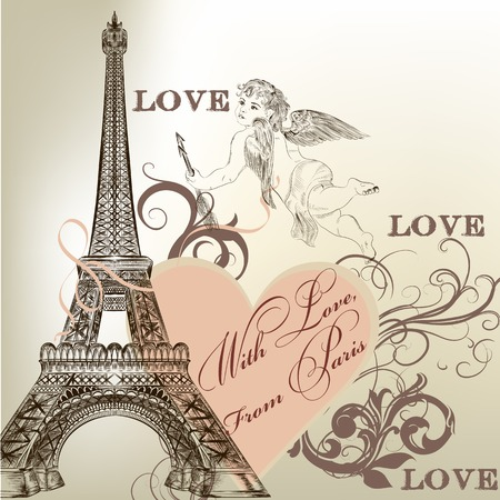 Eiffel tower with cupid Ilustracja