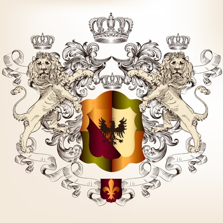 nobel: heraldic shield with crowns and lions
