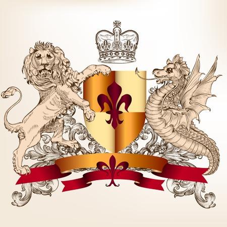 nobel: escudo her�ldico con el drag�n y el le�n Vectores