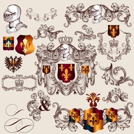 set of luxury royal vintage elements for heraldic design Vector