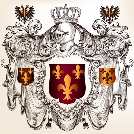 heraldry: heraldic illustration in vintage style with shield, armor, crown and swirl ornament