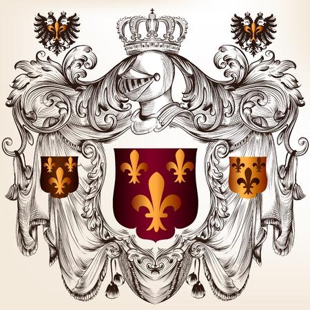 heraldische illustratie in vintage stijl met schild, pantser, kroon en swirl ornament