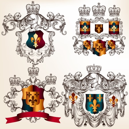 nobel: Colecci�n de escudo her�ldico en el estilo vintage para el dise�o