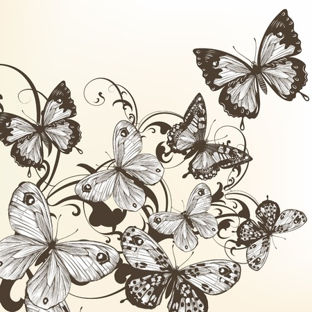 monochromic: Vector illustration with hand drawn butterflies