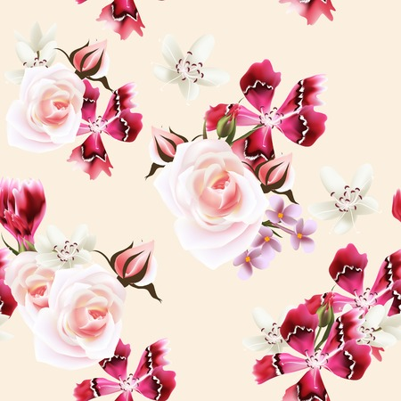 Vector seamless pattern for wallpaper design with flowers Vector