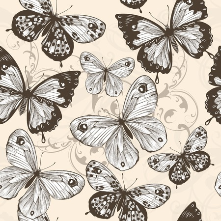 monochromic: Fashion vector seamless pattern  with monochromic butterflies  Illustration