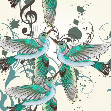 Vector seamless wallpaper pattern with birds  Vector