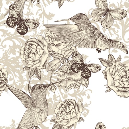 Vector seamless wallpaper pattern with birds and flowers Vector